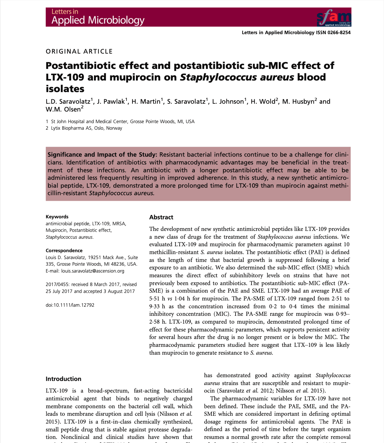 Postantibiotic effect and postantibiotic sub-MIC effect of LTX-109 and mupirocin on Staphylococcus aureus blood isolates