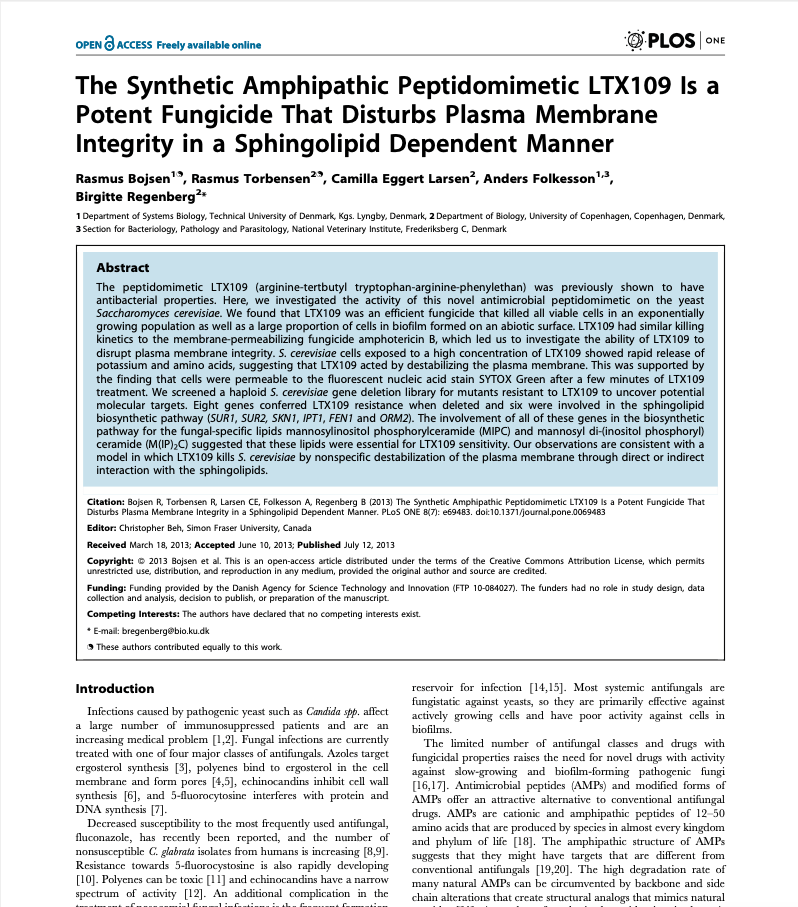 The Synthetic Amphipathic Peptidomimetic LTX109 Is a Potent Fungicide That Disturbs Plasma Membrane Integrity in a Sphingolipid Dependent Manner